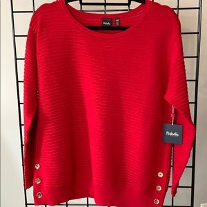 Rafaella Unique Ribbed Red Sweater Petite L NWT